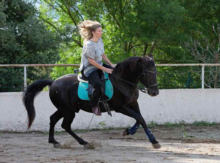 woman practicing dressage riding